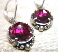 Rose Cut Ruby Leaf Solitaire Earrings by LuraJewelry on Etsy,