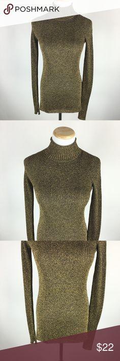 H&M metallic gold turtleneck sweater Sz 4 H&M metallic gold turtleneck sweater Sz 4. Gently worn in great condition. H&M Sweaters Cowl & Turtlenecks