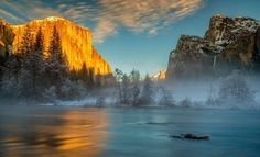 This image was taken in Yosemite National Park just after winter storm. The last light shined on the face of El Capitan in the left. Bridalveil Fall was above the mist of the Merced river in the right side. What a beautiful moment that I witnessed.