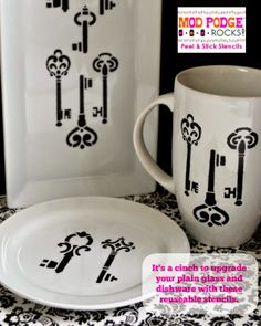 I love these stencils! I was able to upgrade an entire dinner service for eight in less than 20 minutes!  DIY: The Key to Easy Painted Plates, Mugs and Bowls #diy #modpodgerocks