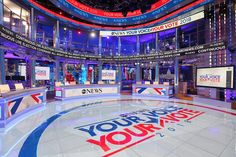 Explore photos of ABC News 2018 Election Headquarters's TV set design in this interactive gallery of the studio. Election Coverage, Tv Set Design, Election Night, Scenic Design, Classic Image, Abc News, Ads, Technology, Design Inspiration