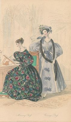 December, 1833 - Court Magazine - Morning Dress, Carriage Dress. Something similar to the blue dress on teh right is seen in Janet Arnold's Patterns of Fashion 1 on p.60,62, and 63