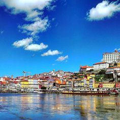 This photo was taken looking from #Maia across the #Douro #River into #Porto #Portugal. Every building seemed to have a different hand painted exterior tile and the colors were so vibrant. Plus having crystal blue skies and a cool breeze never hurts!  #ribeirariodouro #douroriver #sky #clouds #water #vacation #travel #explore by jkwengert