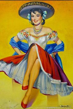WholesaleSarong Retro Mexican Latino pin up Girl Art Poster Wall Art Window Guess Room Bedroom Bedroom Design Mexican Artwork, Mexican Paintings, Mexican Folk Art, Mexican Girls, Lettrage Chicano, Chicano Tattoos, Retro Kunst, Tattoos Realistic, Hispanic Art