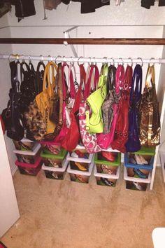 New Small Clothes Closet Organization Shower Curtains Ideas Organizing Purses In Closet, Coat Closet Organization, Handbag Storage, Closet Storage, Bedroom Storage, Home Organization, Organize Purses, Handbag Organization, Organizing Tips