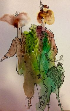 Watercolor and line Fun Art, Cool Art, Painting People, Decorating Small Spaces, Rye, Watercolors, Watercolor Art, Animals, Character