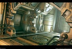 Today we've dedicate this new selection to all sci-fi environments. Meet the the wonderful futuristic art of Stefan Morrell Spaceship Interior, Futuristic Interior, Futuristic Art, Science Puns, Science Fiction Art, Science Art, Environment Concept Art, Environment Design, Cyberpunk