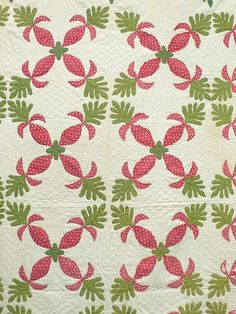 Moving Folk Art Standout 10 12SPI Turkey Red Green Mid 1800s Antique Quilt   eBay