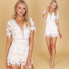 290bde4d5f87 Complete Lace Romper Off White ( 38.99) Formal Shorts