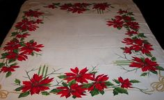 California Hand Prints Vintage Christmas Hvy Cotton Tablecloth Poinsttia 53½X64"