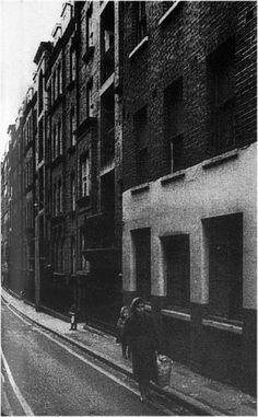 Former Site of 56 Flower & Dean Street (The White House), Christ Church Spitalfield, London..Photo taken early 1960's
