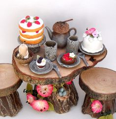 1/12TH scale - fairy house table and stools with food and accessories by Lory