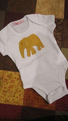 Peekapoo Onesie with yellow felt elephant by MomMadePeeks on Etsy, $20.00