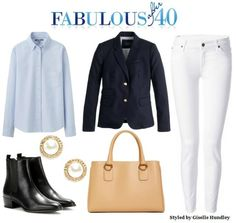 A navy jacket with an oxford blue shirt is a good option with white pants in the fall. l Fabulous After 40