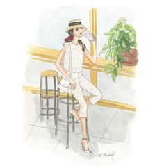 Fashion Illustration (watercolor) Sippin' Pretty by M.Michel Illustration
