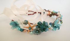 Marina Mermaid Flower Crown-Beach Wedding Crown-Teal Bridal