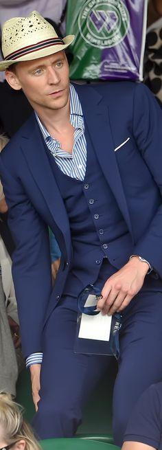 """Happy """"Waist Coat Wednesday""""! Tom Hiddleston at Wimbledon 2015. Photoset: http://maryxglz.tumblr.com/post/153260080677/waistcoatwednesday-tom-hiddleston-at-wimbledon #WaistCoatWednesday"""