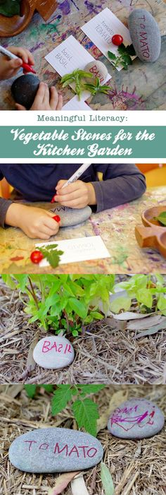A great way to encourage children to write for an authentic purpose, handmade garden markers...