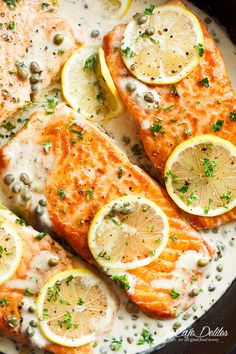 Creamy Lemon Garlic Salmon Piccata is a classy yet easy salmon recipe you've been waiting for, with a delicious creamy lemon caper sauce! | https://cafedelites.com