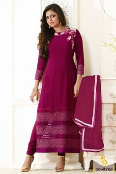 Richly beautifying #magenta georgette madhubala long straight cut suit with dupatta online shopping. Purchase Indian tv stars actresses designer salwar kameez at best prices. #salwarsuits, #tvactresssalwarsuits, #drashtidhamidresses  More : http://www.pavitraa.in/store/tv-actress-salwar-suits/?utm_source=mk&utm_medium=pinterestpost&utm_campaign=8Apr
