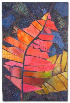When Crotons Cut Loose, an art quilt by Ellen Lindner. AdventureQuilter.com