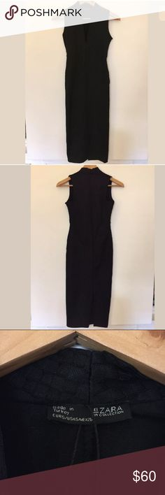 "Zara black deep v sleeveless fitted pencil dress New without tag.   15"" armpit to armpit 8"" arm sleeve opening 43"" total length Zara Dresses Midi"