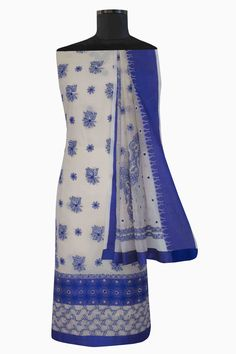 Ada #handembroidered  Fawn/Blue #cotton #lucknowi  #chikankari  Unstitched Suit Piece – A586562