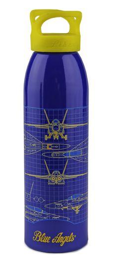 BLUE ANGELS SCHEMATIC 24OZ BOTTLE - 100% USA-MADE 24oz Single Wall Water Bottle Texured Art 100% USA-MADE SKU: 103112