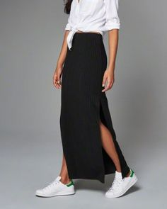 sneakers and maxi skirt