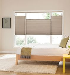 Blindsgalore® Gallery Cellular Shades: Light Filtering Single Cell shown in Greige Living Room Shelves, My Living Room, Interior Design Living Room, Living Room Decor, Bedroom Decor, Bedroom Ideas, Comfy Bedroom, Bedding Decor, Bedroom Curtains