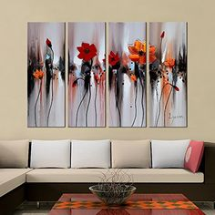 "Hand-Painted ""Bright flowers"" 4-Piece Gallery-Wrapped Flower Oil Painting On Canvas Artland http://www.amazon.com/dp/B00ZZJ35B2/ref=cm_sw_r_pi_dp_OwWRvb01AH7TJ"