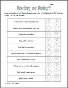 Buddy or Bully? Free printable                              …