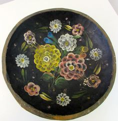 Mexican Hand Painted Folk Art Batea Bowl