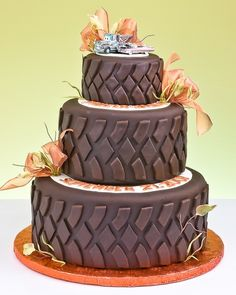 This type of cake were doing but with mud boggers and with green and yellow ribbon, then our topper going to have heart with two rifles crossing. pink and brown. going to be cute cant wait to see it.