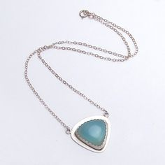 Handmade chalcedony necklace, triangle sterling silver and blue chalcedony jewelry