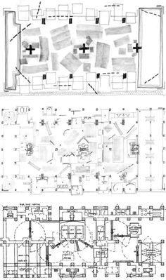 The Fun Palace, conceptual plan -> working plan -> final plan [Cedric Price / 1963]