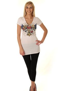 DHStyles Women's White Lace-Up Rhinestone Tattoo Print Tunic Top - Large #sexytops #clubclothes #sexydresses #fashionablesexydress #sexyshirts #sexyclothes #cocktaildresses #clubwear #cheapsexydresses #clubdresses #cheaptops #partytops #partydress #haltertops #cocktaildresses #partydresses #minidress #nightclubclothes #hotfashion #juniorsclothing #cocktaildress #glamclothing #sexytop #womensclothes #clubbingclothes #juniorsclothes #juniorclothes #trendyclothing #minidresses #sexyclothing…
