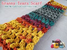 Your place to learn how to Make The Granny Tears Scarf for FREE. by Meladora's Creations - Free Crochet Patterns and Video Tutorials