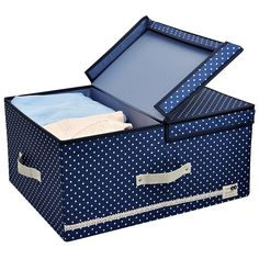 Amazon.com: Jumbo Foldable Thick Polyester Storage Bin Clothes Organizer Box with Lid and Removable Divider, 60 L, Blue Dot with Navy Blue Trim: Home & Kitchen