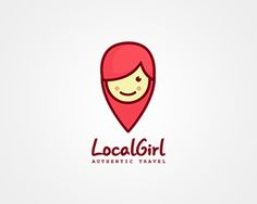 Local Girl Logo design - Illustrative cute mascot logo. The icon is the fusion of a map pin and a girl so I would suggest for travel agencies, destinations, travel blogs and applications, dating apps and websites,GPS applications, maps. Price $350.00