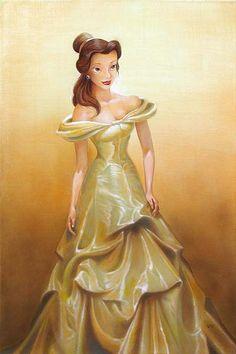 Belle art by John Rowe Belle Disney Princess Beauty & the Beast Costume Gown Dress Disney Belle, Walt Disney, Disney Dream, Disney Girls, Disney Love, Disney Magic, Disney Art, Disney And Dreamworks, Disney Pixar