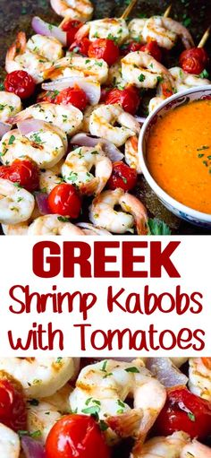My favorite summertime grilling food Grilled Shrimp Kabobs! These simple Greek-inspired skewers take less than 20 minutes to make. Perfect for appetizers or dinner! 161 calories and 1 Weight Watchers SP Greek Recipes, Whole Food Recipes, Dinner Recipes, Weeknight Recipes, Top Recipes, Light Recipes, Summer Recipes, Grilled Shrimp Kabobs, Grilled Seafood