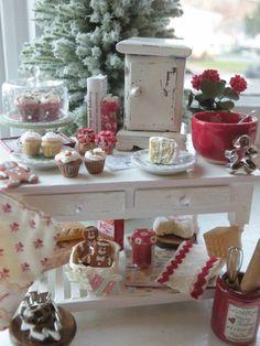 Miniature Cottage Christmas Kitchen Island. $179.00, via Etsy.