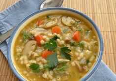 (Saute in broth instead of oil) Mushroom Barley Soup for 4 -- Add your favorite protein to make this a one-bowl meal.