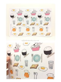 Food Stickers | Meal Stickers| Breakfast Stickers | Planner Sticker Sheet | Journal, Scrapbooking, Planner Stickers by softpinksmooches on Etsy