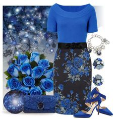 Love the bright blue top and the floral form fitting skirt.  Very Classic.