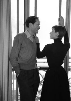 Audrey Hepburn and Mel Ferrer (actor, film director and dialogue coach) in England, 1954.