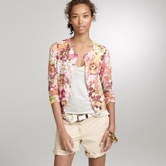 J. Crew Waterfloral Pastiche Cardigan, sz XS In excellent condition J. Crew Sweaters