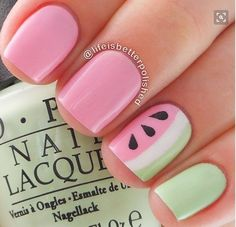 Do you love doing nail art? Are you looking for nail art summer ideas? This post is just what you need! Check out our collection of 'Watermelon Nail Art Designs for Summer below and tell us what you think… Fancy Nails, Love Nails, Pretty Nails, Kid Nails, Watermelon Nail Art, Watermelon Designs, Fruit Nail Art, Watermelon Ideas, Fruit Art