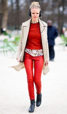 red-pants-style-leather-blazer